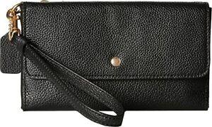 Coach 29609 Polished Pebble Leather Triple Zip Wristlet Wallet Phone Case New