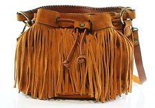 Patricia Nash NEW Brown Cognac Elisa Fringe Suede Hobo Purse Handbag $169- #025