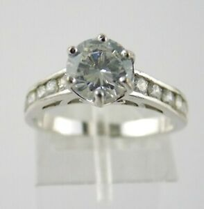 Sterling Silver Round Cut Cubic Zirconia w Accents Ring 925 White CZ Size 6.75