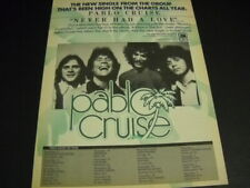 Pablo Cruise Never Had A Love plus November 1977 Tour Dates Promo Poster Ad mint