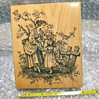 "Stampin' Up Serenity Mounted Wood Large 6"" x 5"" Gently Used 2002 TOILE Set of 1"