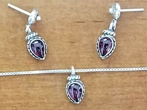 Dainty Q.T. Sterling/Amethyst Necklace & Earrings Set (Quoc Turquoise)