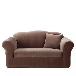 Stretch Pinstripe Separate Seat Sofa Slipcover Chocolate Brown