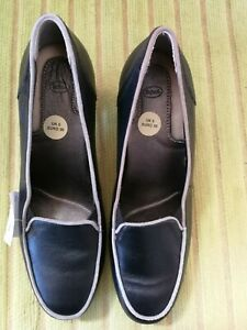 NEW SCHOLL BLACK LEATHER LADIES COURT SHOES SIZE 5 (38)