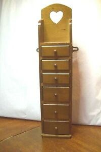 Vintage Wall Mounted Set of Drawers with 6 Small Drawers display 18 inches tall