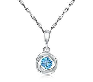 BENIAMINO Damen Kette Anhänger 925er Sterling Silber Blau Topas Halskette OVP