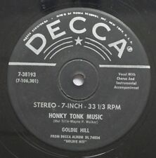 Country 45 Goldie Hill - Honky Tonk Music / It'S So Lonely (On My Side Of The Se