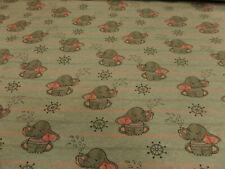 """Kinderstoff """"Elefanten""""150 cm br.BW-Mischg.mehrfarb.je 50 cm"""