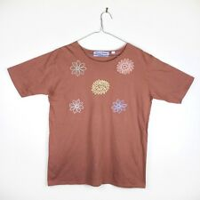 VINTAGE 80s 80s Floral Embroidered Boho Yellow Kitsch Hippy Folk T Shirt Top L
