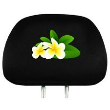 One universal  headrest cover in cotton material for your car  , with frangipani