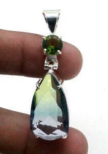 Multi Tourmaline & Peridot Gemstone 925 Sterling Silver Jewelry Pendants S-1.50""