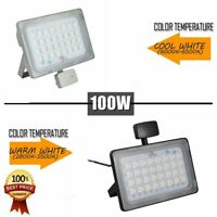 100W LED Flood Light Outside PIR Motion Sensor Outdoor Yard Spotlights Lamp US