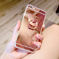 3D Cute Chrome Mirror Metal Ring Holder Stand Bear Case Cover for Cell Phones