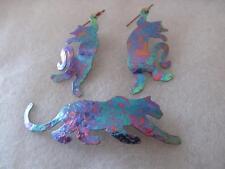 Vintage Anodized Rainbow Niobium Multicolored Metal Dangling Cat Earrings,Brooch