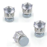 Men's Magnetic Clip On Earrings Crystal Rhinestone No Piercing Ear Stud Jewelry