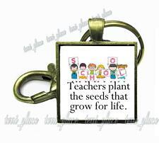 Teachers Plant the Seeds Glass Key Chain Kids School Teachers Appreciation Gift