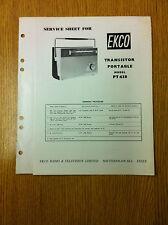 EKCO PT438 Transistor Portable Radio Service Sheet - Vintage Radio