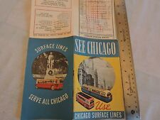 Rare 1942? Chicago Surface Lines Trolley Bus PCC Subway Map Brochure