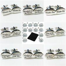 Silver Personalised Engraved Wedding Cufflinks Cuff Links Usher Groomsman