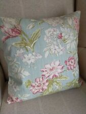 REVERSIBLE Porter & Stone Campagna Blue Cushion Cover Garden Chair Floral 16""