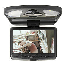 "NEW 9""inch Roof Mount Monitor Car Flip Down Overhead SD DVD Player TV IR Black"