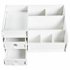 Makeup Storage Case Cosmetic Holder Perfume Jewellery Organiser 2 Drawers White