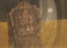 """The Fallen King"" in Moonlight Casein 31 x 23 Painting-1967-William Gorman"
