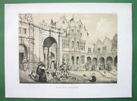 ENGLAND Kensington Holland House Courtyard View - Sepia Color Litho Print