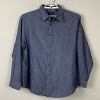 Casuals Roundtree Yorke Long Sleeve Button Down Blue White Dots Men's size XL