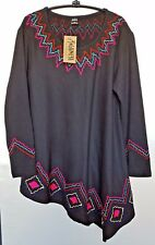 Women's Highness Asymmetrical Embroidered Knit Blouse/Top Size L/XL