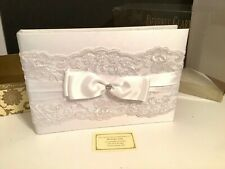"""BEVERLY CLARK COLLECTION """"French Lace"""" Wedding Guest Book White"""