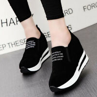 Women Hidden Wedge Shoes Platform Casual Flat Sneakers High Top Ankle Boots Size