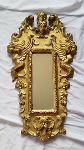 24K Gold Gilded Antique Wall Mirror Venetian Rococo Cherub Mermaids Italy