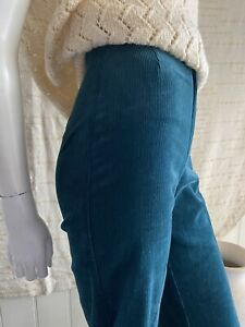 Vintage 70s Sport Look Corduroy Pants Straight Leg Size 6 Forest Green Cords
