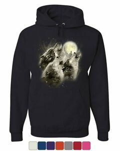 Wolf Howl Hoodie Wild Wolf Pack Predator Animals Nature Moon Sweatshirt
