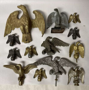 Group / Lot of 13 Vtg Small Eagle Flag Pole Toppers, Architectural, Finial, Etc…