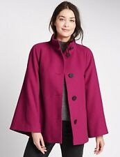 BNWT Womens M&S Trapeze Cape Coat Raspberry Size 10 12 14 Ladies Jacket Winter B