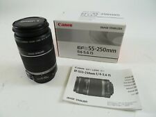 Canon EF-S 55-250mm F/4-5.6 IS in original box with manual and lens caps. in EC.