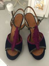 Gorgeous Chie Mihara Heeled Sandals In Blue/fuschia Suede Size 38 ( 5 )