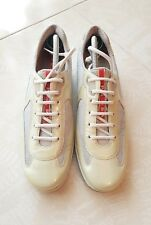 PRADA Scarpe Sneakers Donna Pelle Verde Argento 38