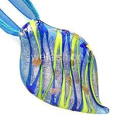 Silver Foil Blue Leaf Handmade Lampwork Glass Murano Pendant Ribbon Necklace