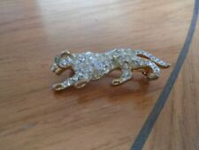 White Stones Tiger Brooch With