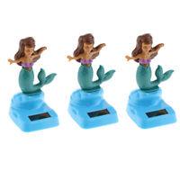 Set 3 Animal Car Dashboard Bobble Head Toys Desktop Decor Mermaid