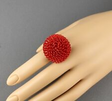 Red ring wire metal mesh flower BIG cocktail ring adjustable