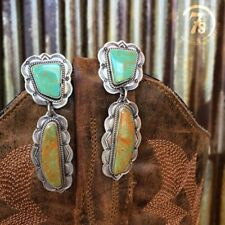 Vintage Women 925 Silver Turquoise Gems Wedding Engagement Drop Dangle Earrings