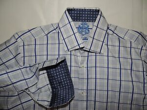 NWOT English Laundry men's 100% cotton Blue plaid shirt 15 X 34/35