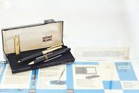 Montblanc 124 Füllhalter 18C B Feder 184 Kugelschreiber Walzgold Set Box Papiere