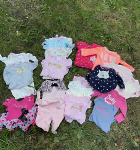Lot of 19 Carter's Gerber Winter Clothes Pajamas One Piece Baby Girl 6 Months