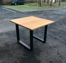 Square wood metal table for dining room