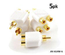 5-PACK RCA Male Plug to 2-RCA Female Jack Audio Video Splitter White Adapter